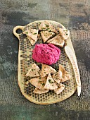 Beetroot hummus and pita bread