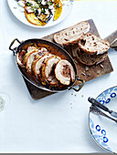 Roast pork stuffed with dried fruits, mushroom salad, grilled squash and eggplant with feta cheese