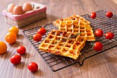 Cherry Tomato and Pepper Omelette Waffles