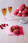 Profiterole with raspberry cream
