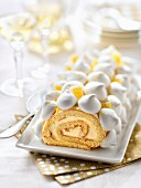 French yule log with lemon cream and meringue