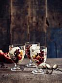 Vanilla Cream,Pomegranate And Orange Desserts