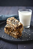 Golden and black sesame seed cookie bars