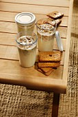 Homemade organic milk and speculos ginger biscuit yoghurts