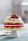 Vacherin with sour cherries and pistachios