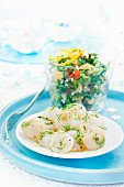 Scallops marinated in lemon and dill,parsley,crushed wheat and pepper summer salad