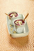 Rhubarb and blackcurrant smoothie with yoghurt and meringue crumbs
