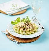 Shredded skate with steamed potatoes and herbs