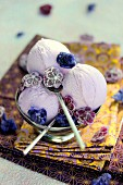 Scoops of lavender candy sorbet