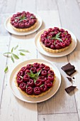 Chocolate-raspberry individual tarts