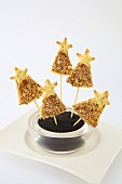 Christmas tree cheese and dried fruit pops