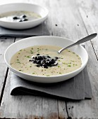 Celeriac and black olive soup