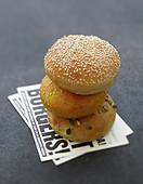 Three stacked burger buns