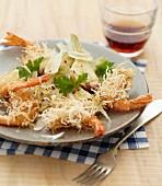 Artischockensalat mit Parmesan, knusprige Garnelen im Kadaifmantel