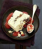 Semifreddo terrine with sabayon and strawberry coulis