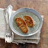 Lentil soup with pan-fried foie gras