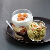 Crab-avocado Verrine and crayfish and 2 cream Verrine