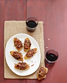 Fig and raw ham Bruschettas