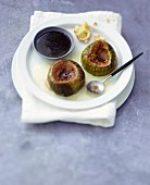 Roasted figs with cardamom-flavored custard and Port caramel