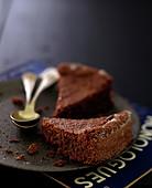 Slice of Dark chocolate Fondant