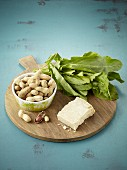 Ingredients for sorrel and peanut pesto