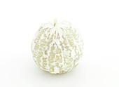 Peeled grapefruit on a white background