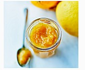 Pot of citrus fruit marmelade