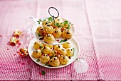 Beaufort and squash seed savoury cream puffs