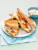 Chicken and bacon toasted club sandwhich