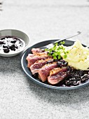 Duck magret with blueberries, homemade mashed potatoes