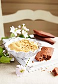 Toffee mousse and chocolate Financiers