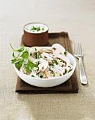 Creamy button mushroom salad