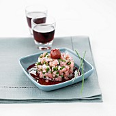Veal tartare with shallots and cherry vinaigrette
