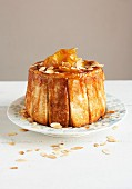 White bread, caramelized apple and almond charlotte