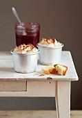 Redcurrant brioche meringue puddings
