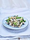 Buckwheat, green asparagus, shimeji, seaweed and smoked tofu salad