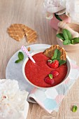 Strawberry soup and homemade wafles