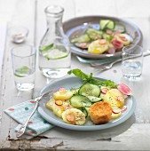 Cucumber, potato and pink radish salad with breaded goat's cheese croquettes