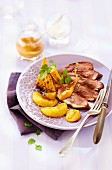 Duck magret with ugli fruit and gingerbread sauce