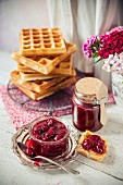 Waffles with stewed cherries