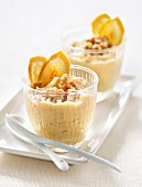 Stewed bananas with walnuts and banana crisps