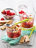 Fresh summer fruit and raspberry Paille d'or crumbles
