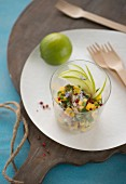 Mackerel ceviche with mango, green apple, pink peppercorns, lime juice and fresh mint