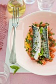 Poached mackerel fillets in virgin sauce
