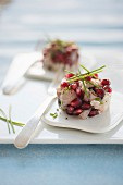 Mackerel tartare with pomegranate, lime juice and chives
