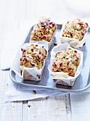 Goat's cheese-rocket lettuce rice flour mini cakes