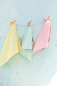 Pastel tea towels hanging from a line