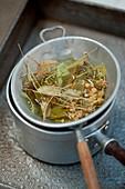 Preparing lime blossom tea