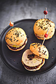 Foie gras, fig jam and truffle mini burgers