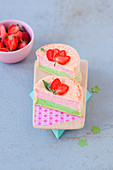 Mini angel cake with strawberries and basil